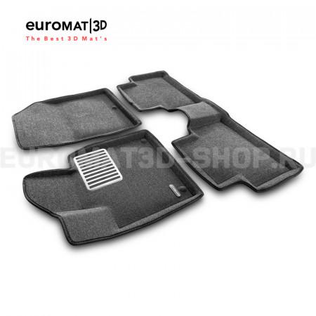 Текстильные 3D коврики Euromat3D Lux в салон для Kia Sorento (2020-) № EM3D-002900G Серые